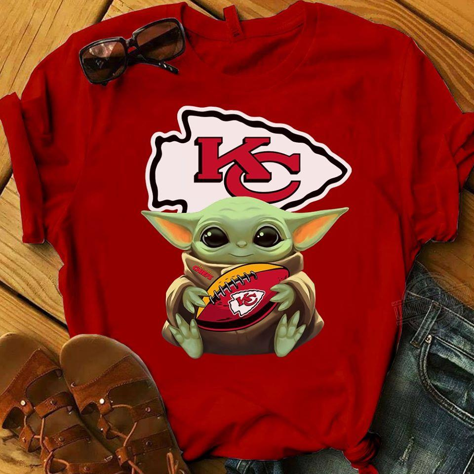 Baby Yoda Hug Kansas City Chiefs Football Shirt